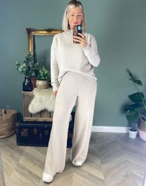 Piro Wide Leg Knitted Trousers in Panna Cream