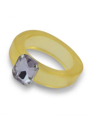 Big Metal Ilaria Gem Plastic Ring - Yellow One Size