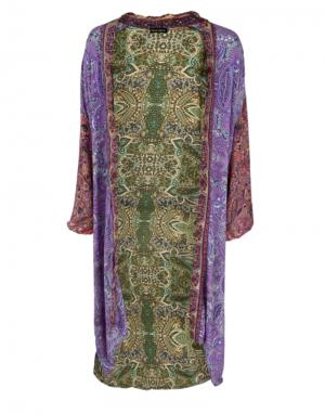 Black Colour Luna Long Kimono in Paisley Multi