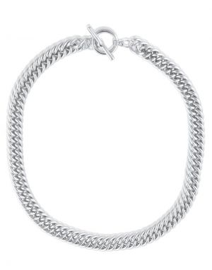 Big Metal Molly Curb Chain Necklace - Silver