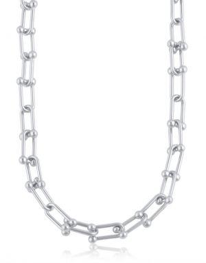 Big Metal Renata Chunky Necklace in Silver