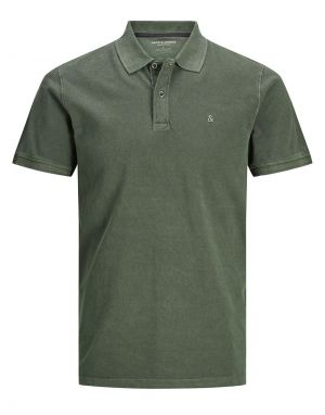 Jack and Jones Washed Polo Shirt in Forest Night