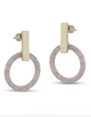 Big Metal Grace Resin Earrings - Pink