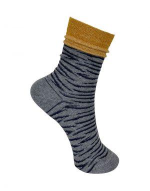Black Colour Ambra Tiger Socks in Grey