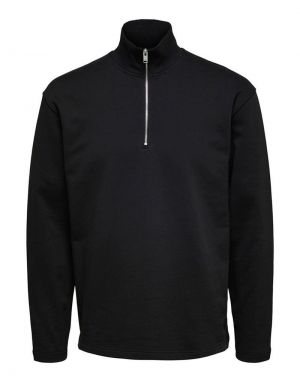 Selected Homme Relax Carson Half Zip Sweater in Black
