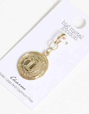 Big Metal L Brass Charm in Gold