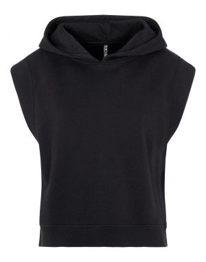 Pieces Chilli Sleeveless Hooded Top in Black