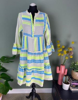 Aztec Smock Dress in Neon Yellow and Blue