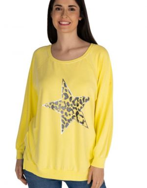 A Postcard from Brighton Leaning Animal Star Sweat in Yellow