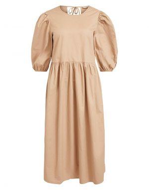 Vila Mimi O Neck Dress in Soft Camel