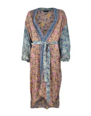 Black Colour Luna Long Kimono in Pastel Mix