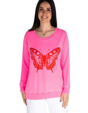 A Postcard from Brighton Fly Away Butterfly Sweat in Pink