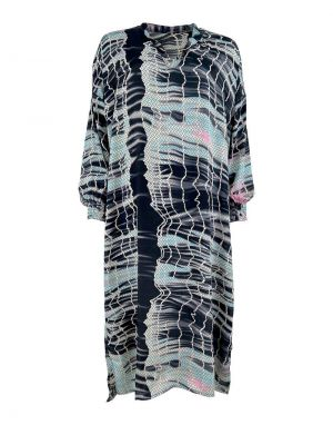 Black Colour Pixi Batik Kaftan Dress in Light Blue