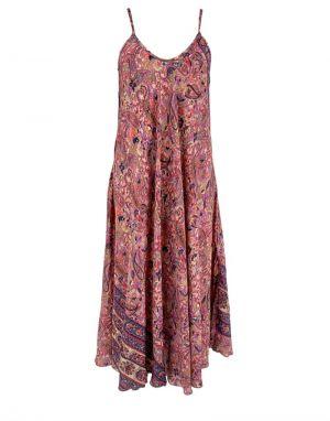 Black Colour Luna Strap Dress in Pink Paisley