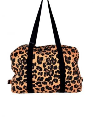 Black Colour Pepe Weekend Bag in Leopard and Apricot