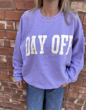 Sundae Tee Day Off Vintage Sweater in Purple Lilac