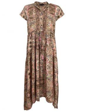 Black Colour Luna Mae Midi Dress in Rose Ivory
