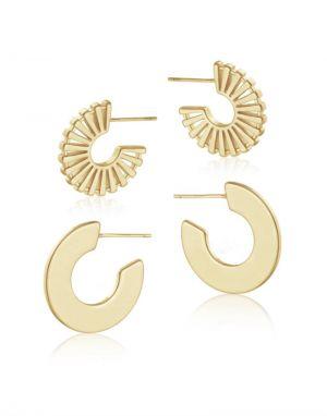 Big Metal Vivienne Huggie Earrings - Gold