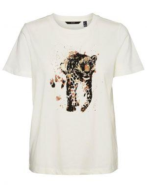 Vero Moda Alba Flocked T-shirt in Leopard