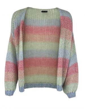 Black Colour Filuca Stripe Knit Cardigan in Mint