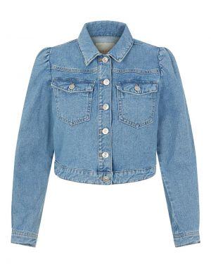 Pieces Greyson Cropped Denim Jacket