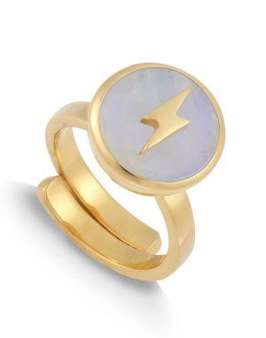 SVP Stellar Large Ring in Lightning Moonstone Gold