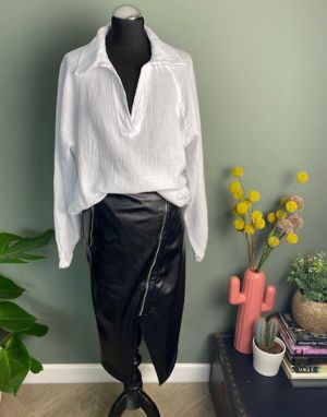 Open Neck Cheesecloth Shirt in White