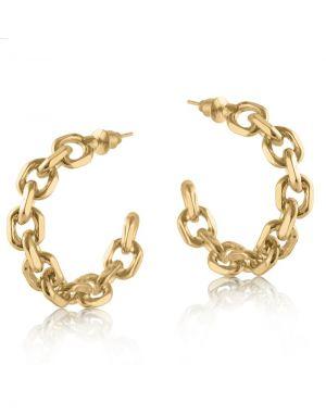 Big Metal Orla Chain Hoop Earrings - Gold