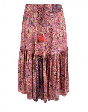 Black Colour Luna Boho Skirt in Winter Rose