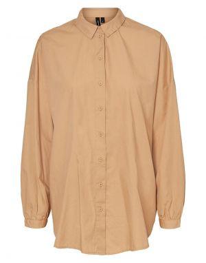Vero Moda Naja Long Shirt in Tan