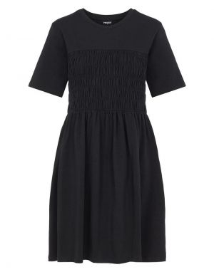 Pieces Chrissy Shirred Dress in Black