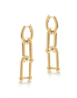 Big Metal Renata Charm Hoop Earrings in Gold