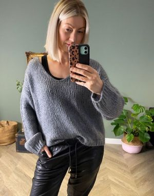 Piro Mohair Chunky Wide Neck Jumper in Anthracite Grey