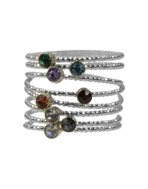 Big Metal Iris Rainbow Multi Ring Pack - Silver